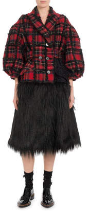 Simone Rocha Double-Breasted Plaid Tinsel-Back Faux-Fur Bottom Coat