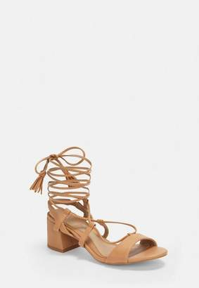 Missguided Tan Mid Block Heel Ghillie Sandals
