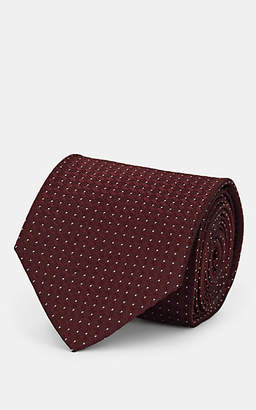 Isaia Men's Pin-Dot Silk Necktie - Wine
