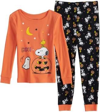Toddler Girl Peanuts Snoopy & Woodstock Halloween Top & Bottoms Pajama Set