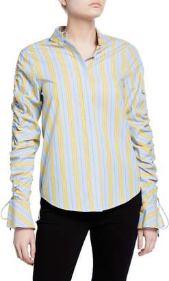 Jonathan Simkhai Ruched Oxford Button-Down Shirt