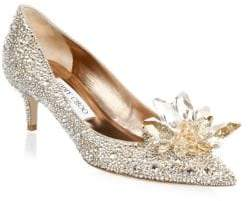 Jimmy Choo Crystal Suede Point Toe Pumps 50MM