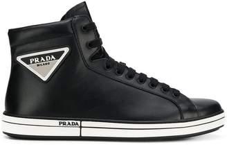 Prada logo patch sneakers