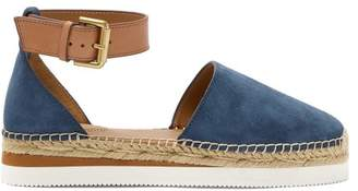 See by Chloe Raised Sole Suede Espadrilles - Womens - Navy