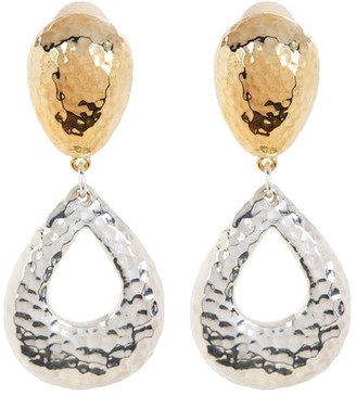 SIMON SEBBAG Two Tone Hammered Teardrop Clip-On Earring $205 thestylecure.com