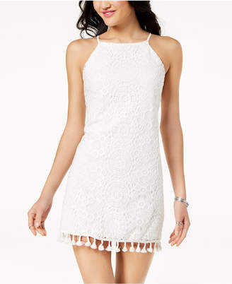 Speechless Juniors' Lace Pom Pom Dress