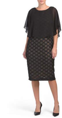 Eyelash Dress With Chiffon Overlay