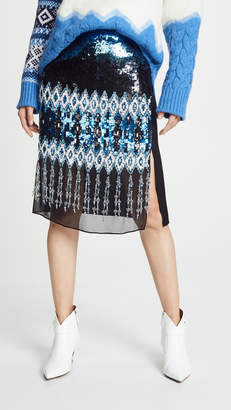 Prabal Gurung Kyla Ikat Embroidered Pencil Skirt