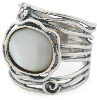 Made In Israel Sterling Silver Mother Of Pearl Ring