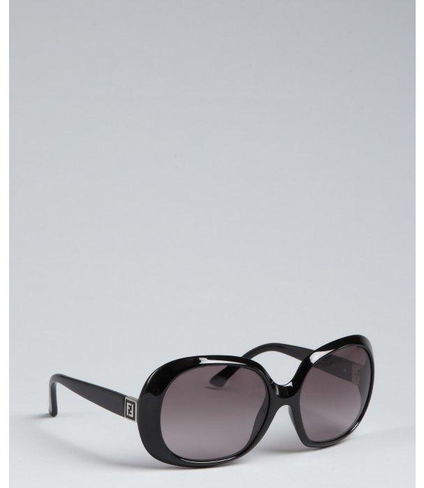 Fendi black acrylic oversize round sunglasses