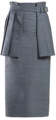 Fendi Pleated Panel Wool Blend Tweed Pencil Skirt - Womens - Blue Multi