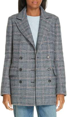 Rebecca Taylor Plaid Double Breasted Wool Blend Jacket
