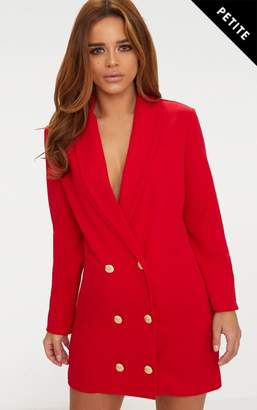 PrettyLittleThing Petite Red Gold Button Oversized Blazer Dress