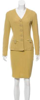 Salvatore Ferragamo Knit Structured Skirt Suit Set