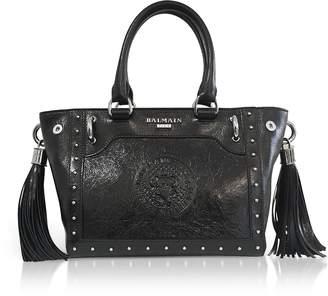 Balmain Black Leather Top Handle Mini Tote bag