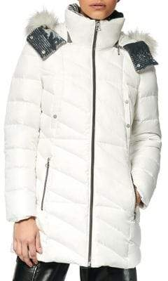 Andrew Marc Shirley Faux Fur-Trim Hooded Puffer Coat