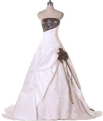 33a91ac9c09 DINGZAN Camo and Lace Ball Quinceanera Gown Prom Wedding Bridal Dresses 2017