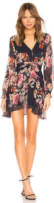 Nicholas Rust Floral Pintuck Mini Dress