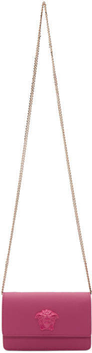 Versace Pink Small Palazzo Flap Pouch Chain Bag