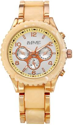 August Steiner Men's Rose Gold Tone Dual Time Watch