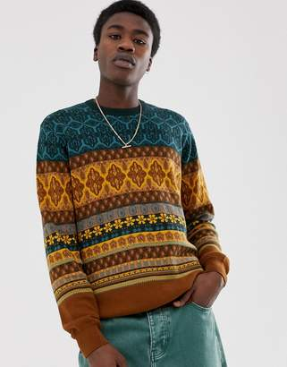 Asos Design DESIGN knitted sweater with floral design in brown