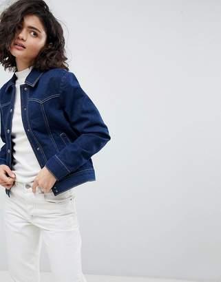Asos Design Denim Western Jacket In Indigo