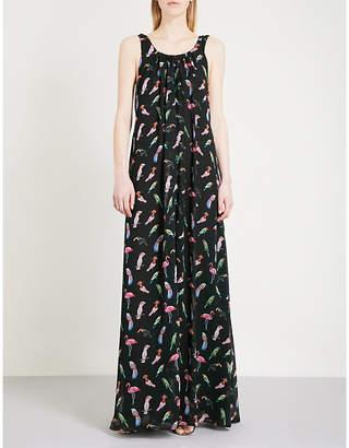 Claudie Pierlot Bird-print chiffon maxi dress