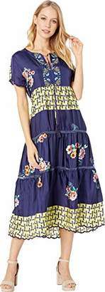 Johnny Was Women's Short Sleeve Midi Dress with Embroidered Trim