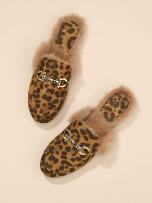SheinShein Faux Fur Trim Leopard Loafer Mules