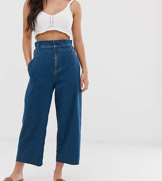 Asos DESIGN Petite lightweight cropped wide leg jeans in mid wash with paper bag waist detail