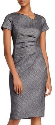 Donna Karan Asymmetric Pleated Sheath Dress
