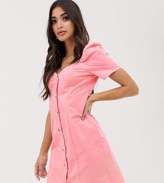 Missguided Petite exclusive sweetheart neck mini dress with puff sleeves in pink