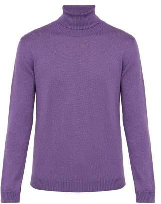 Gucci Roll Neck Metallic Wool Blend Sweater - Mens - Purple