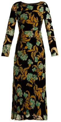 Saloni Tina Floral Devore Velvet Dress - Womens - Black Multi