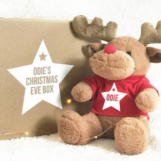 Precious Little Plum Personalised Christmas Eve Box With Reindeer Toy