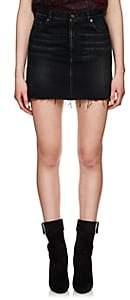Saint Laurent Women's Frayed-Hem Denim Miniskirt-Black