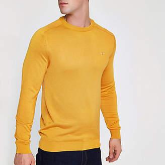 River Island Yellow slim fit crew neck sweater