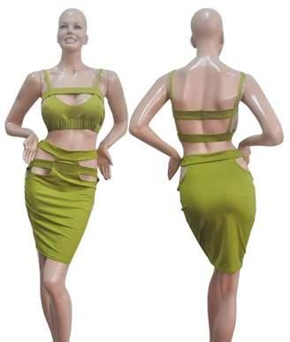 DOWL Women Slim Fit Fashion Bodycon Party Backless Dress Evening Bandage Dress