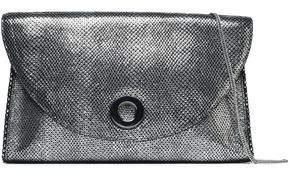 Halston Metallic Lizard-Effect Leather Clutch