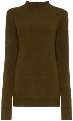 Rick Owens crew neck cutout knitted wool blend sweater