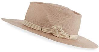Gladys Tamez Harlow Panama Straw Boater Hat, Lilac