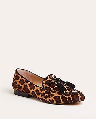 Ann Taylor Ursula Cheetah Print Haircalf Tassel Loafers