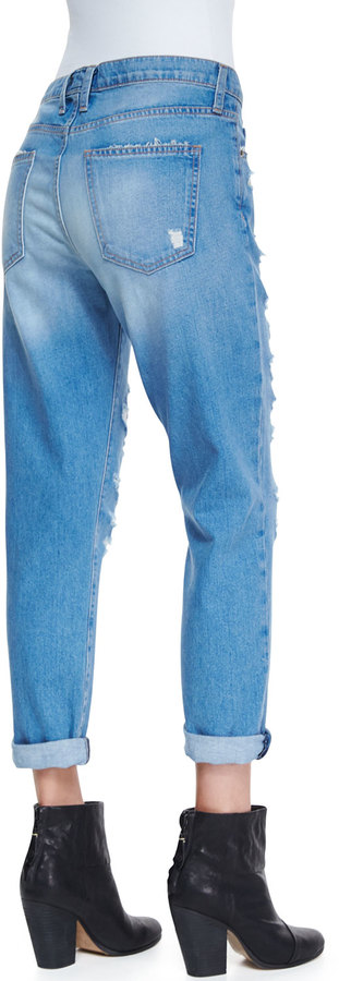 Current/Elliott The Fling Tattered Destroyed Relaxed Jeans
