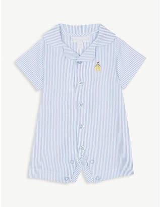 The Little White Company Pinstripe seersucker cotton bodysuit 0-24 months