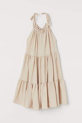 H&M Wide-cut Tiered Dress - Beige