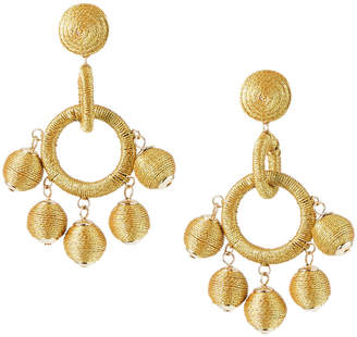Lydell NYC Wrapped Ball Hoop Earrings