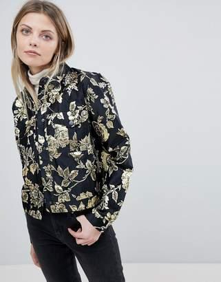Vila Gold Floral Jacquard Jacket