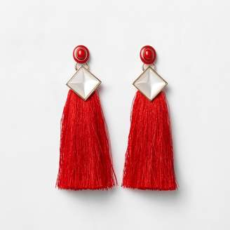 River Island Womens Red tassel drop earrings