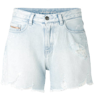 Calvin Klein Jeans light-wash denim shorts $98.95 thestylecure.com
