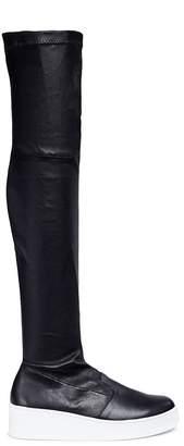 Robert Clergerie 'Tinatua' stretch calfskin leather knee high platform boots